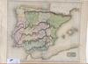 "Karta, kolorerad, 1800-tal. ""spain and portugal""."