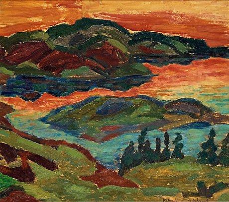 "Helmer osslund, ""afton vid ljungan"" (evening by the river ljungan)."