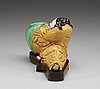 A famille verte biscuit li taibo-form brushwasher, qing dynasty, kangxi (1662-1722).