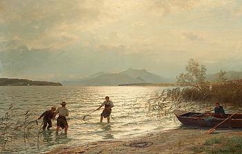 207. Hans Fredrik Gude, Fishing by the shore.