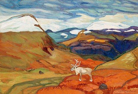 Helmer osslund, autumn landscape with reindeer.