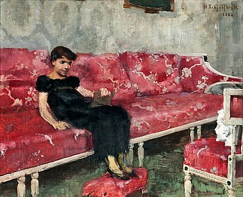 203. Helene Schjerfbeck, GIRL ON A RED SOFA.