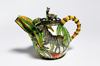 """6. Tekanna, """"Zebra Teapot"""", med dekor av zebror."""
