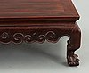 A hardwood 'claw on ball' low table, qing dynasty.