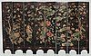 An eight panel lacquer screen, qing dynasty, presumably kangxi (1662-1722).