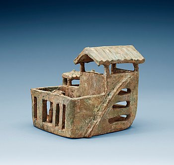 1601. A green glazed pottery model of a house, Han dynasty (206 BC-220 AD).