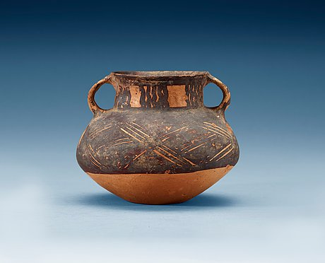A potted and painted jar, neolithic period.