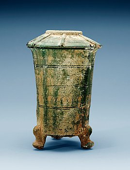1606. A green glazed pottery silo, Han dynasty (206 BC - 220 AD).