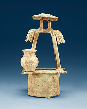 1602. A green glazed pottery model of a well, Han dynasty (206B.C-220).