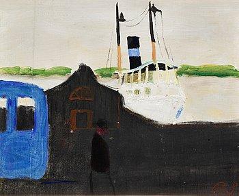 "1. Ragnar Sandberg, ""Ångbåtsbrygga Lilla Bommen, Göteborg"" (The Steam Boat Pier at Lilla Bommen, Gothenburg)."