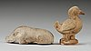 A potted figure of a duck and a wild boar, tang dynasty (618-907).