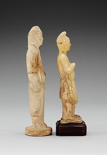 Two glazed male figures, tang dynasty (618-907).