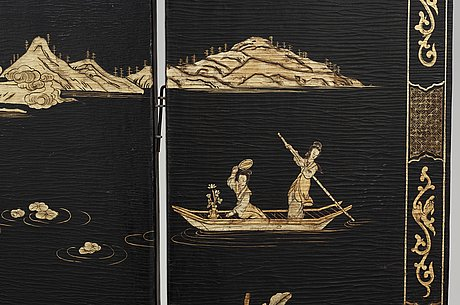 A six panel lacquer screen, qing dynasty (1644-1911).