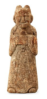 1614. A stone sculpture of a guardian, presumably Han dynasty.