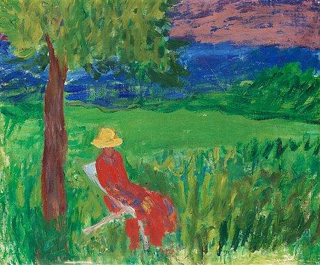"""Ivan ivarson, """"kvinna under träd""""."""