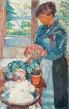 206B. Søren Onsager, Wife preparing dinner.