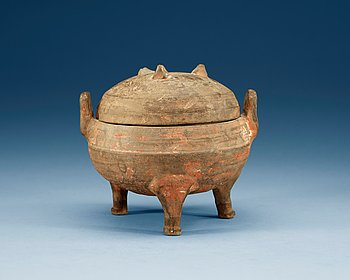 1612. A potted ding tripod censer with cover, Han dynasty (206 BC - 220 AD).