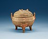 A potted ding tripod censer with cover, han dynasty (206 bc - 220 ad).