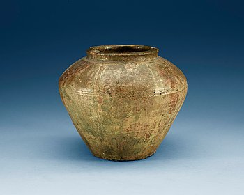 1607. A green glazed potted jar,  Han dynasty (206 BC - 220 AD).
