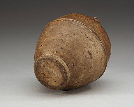 A glazed jar with four handles, presumably sui dynasty ca 600 ad.