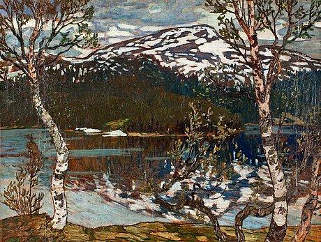 """Helmer osslund, """"vårdag vid rensjön, Åre""""."""