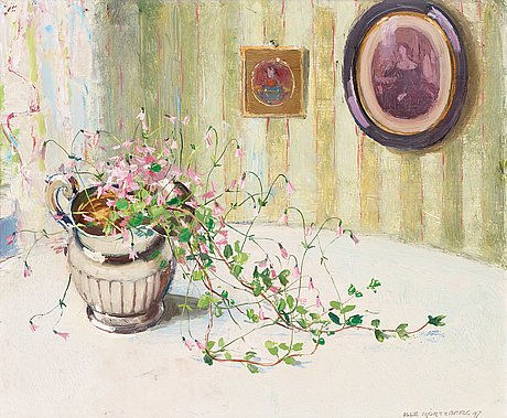 Olle hjortzberg, still life with twinflowers in silver jug.