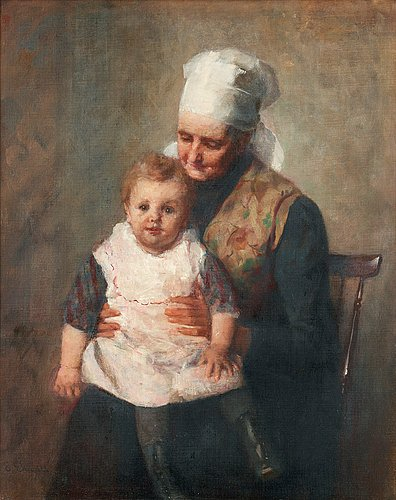 Emma ekwall, in grandmother's lap.