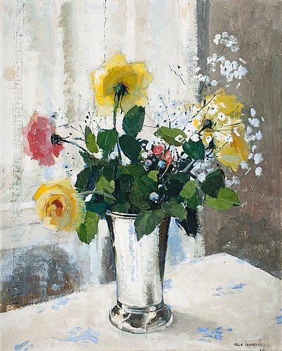 Olle hjortzberg, still life with roses and meadow flowers in silver beaker.