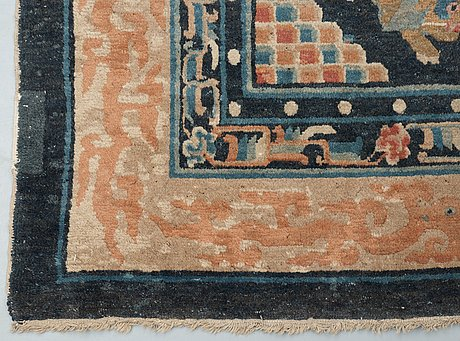 An antique chinese figural carpet, qing dynasty.