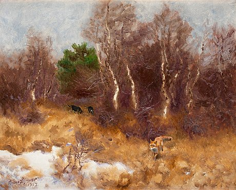 Bruno liljefors, forest landscape with fox and hounds.