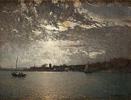 Alfred wahlberg, moonlight over stockholm.