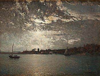 2. Alfred Wahlberg, Moonlight over Stockholm.