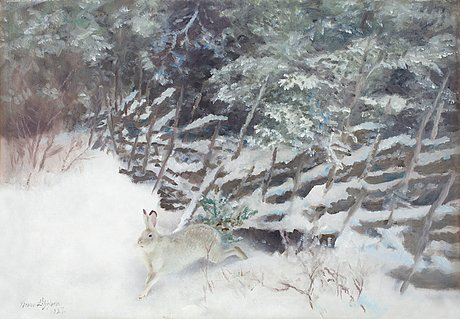 Bruno liljefors, a hare in a winter landscape.