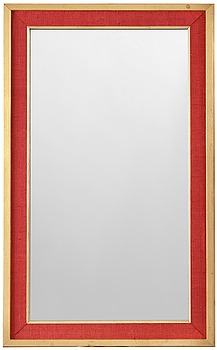 303. Estrid Ericson, A Svenskt Tenn mirror, the frame with red fabric and gilding.