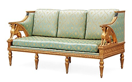 A late gustavian early 19th century seating, comprising seven parts (one sofa, four armchairs, two chairs).