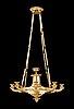 An empire early 19th century gilt bronze eight-light hanging lamp.