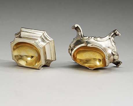 Two 18th century parcel-gilt salts, one of silwester wohlgemut, celle 1730-tal, and one of acw, wien 1784.