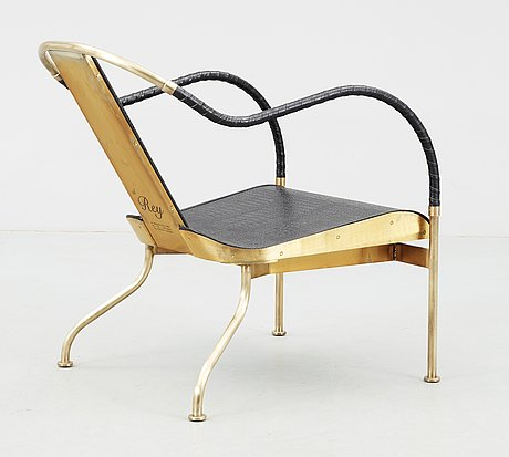 A mats theselius 'el rey' brass and leather easy chair, källemo ab, värnamo, sweden.