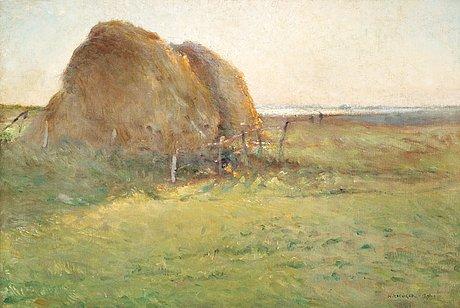 """Nils kreuger, """"halmstackar"""" (haystacks)."""