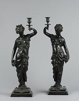 242382. LJUSSTAKAR, ett par, empirestil, 1900-tal.