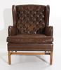ÖronlappsfÅtÖlj, brunt läder. ope möbler, danmark.