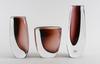 Vaser, 3 st, glas, vicke lindstrand, kosta, sign.