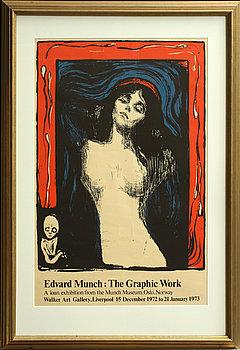 EDVARD MUNCH, efter, litografisk affisch, 1972.
