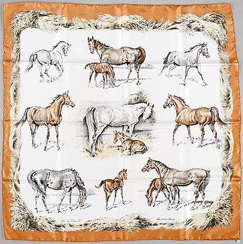 "423. A 1968s silk scarf ""Les Poulains"" by Hermès."