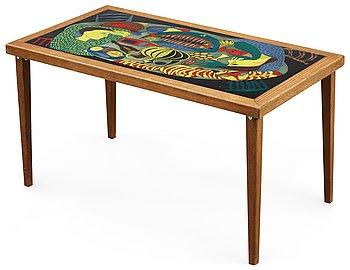 12. A Stig Lindberg enamel and oak sofa table, Gustavsberg 1950's.