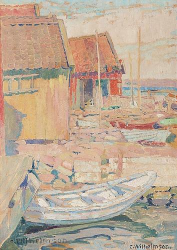 """Carl wilhelmson, """"sjöbodar"""" (boathouses)."""