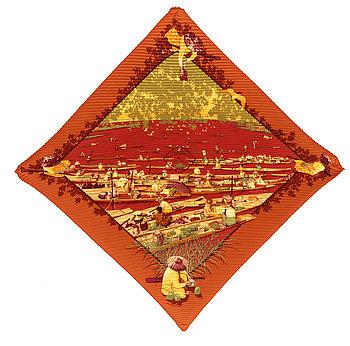 """426. A silk scarf """"Marché Flottant du Lac Inlé"""" by Hermès."""