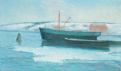 """Karl nordström, """"pråmar"""" (barges)."""