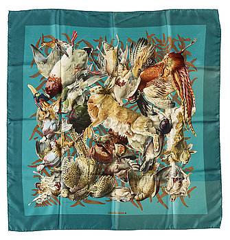 "430. A silk scarf ""Le Gibiers"" by Hermès."