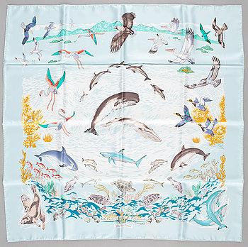 """433. A silk scarf """" La vie Precieuse de la Mediterranée"""" by Hermès."""